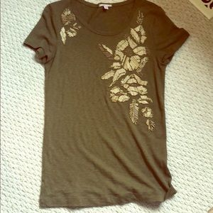 Jcrew army green shirt with flower